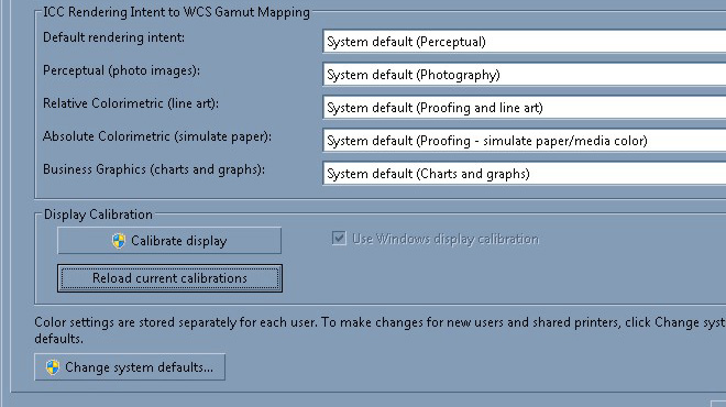 Color calibration and dual monitor setup in Windows 7