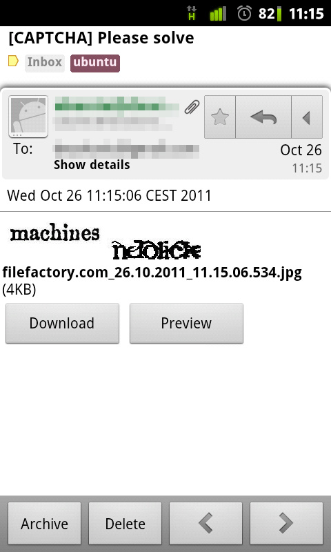 Received CAPTCHA in Gmail